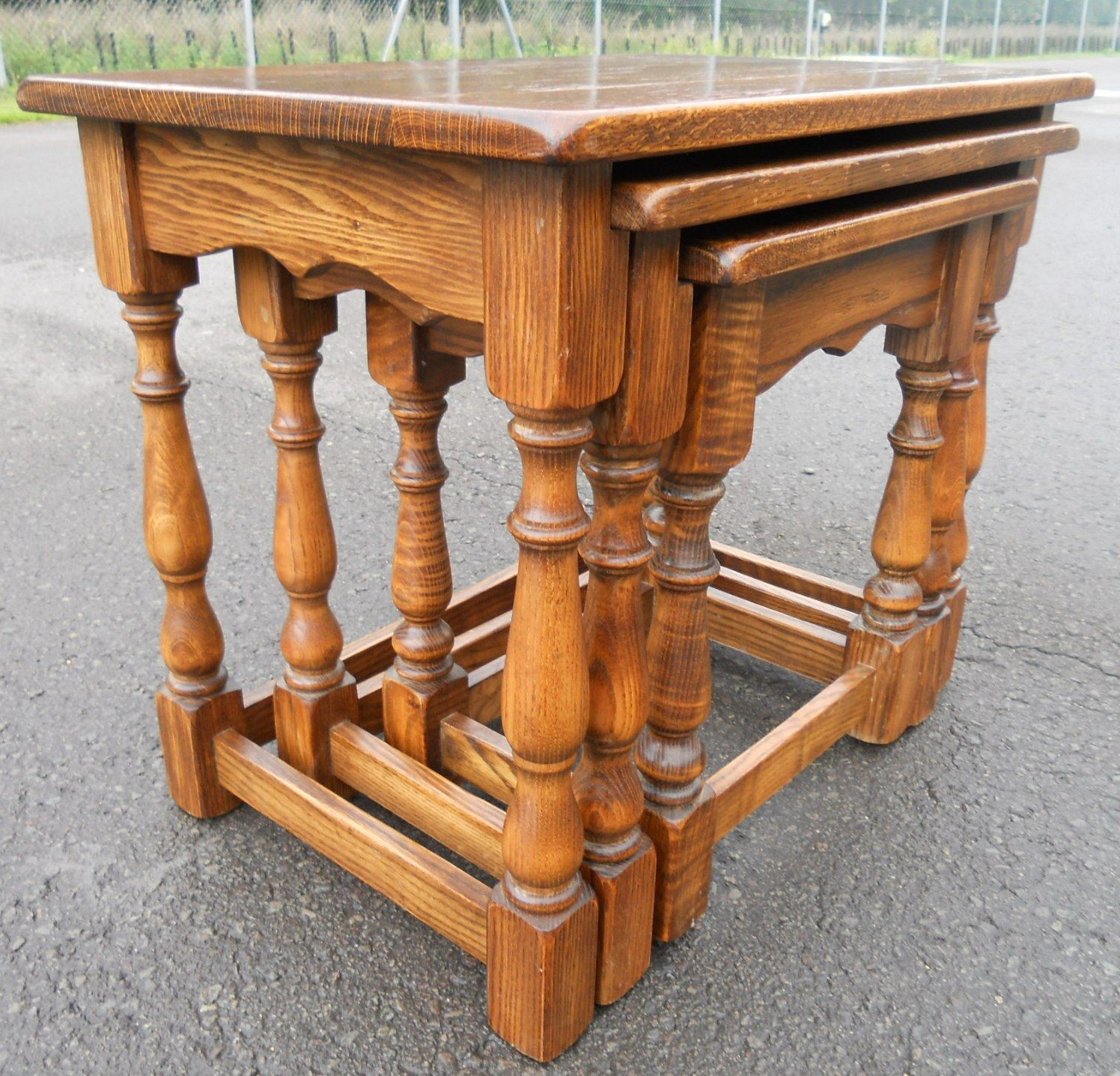 Oak Nest of Three Antique Style Coffee Tables